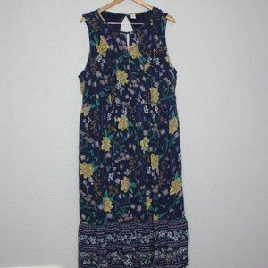 Old Navy Blue Floral Midi Length Boho Dress sz XXL